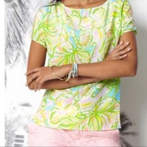 Lilly Pulitzer green silk sheer guava top